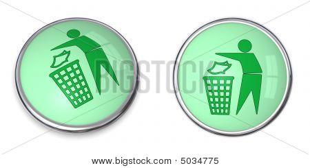 Button Tidy Man With Wastebin
