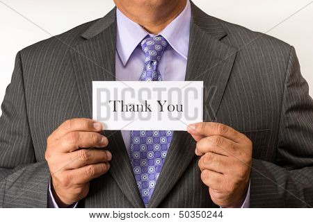 Business Man Holding a Thank You Sign