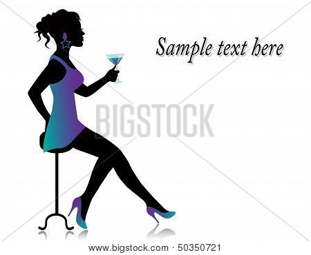 sitting woman with a cocktail