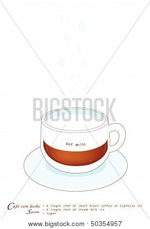 A Cup Of Cafe Con Leche On White Background
