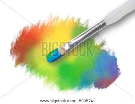 Rainbow Paint Splatter Texture With Paintbrush