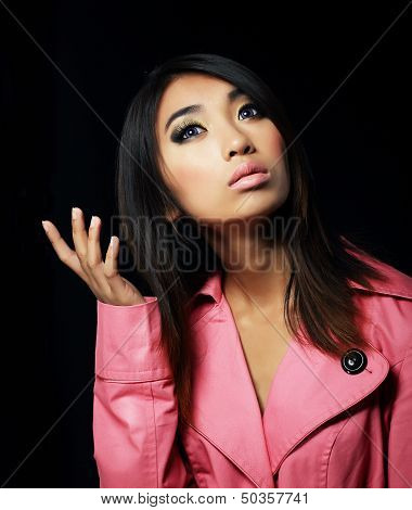 Sentimentality. Elegant Young Woman In Pink Coat