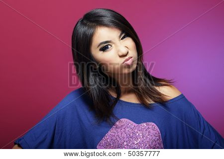 Antipathy. Discontented Asian Woman Grimacing