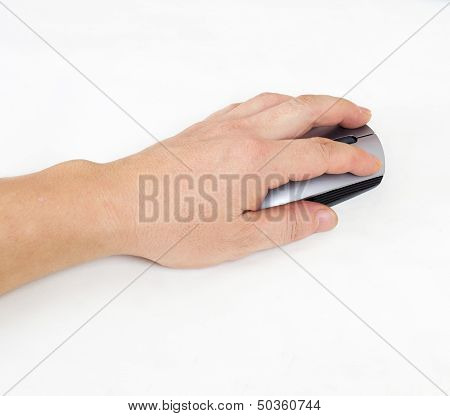 Hand Holding Computer Mouse
