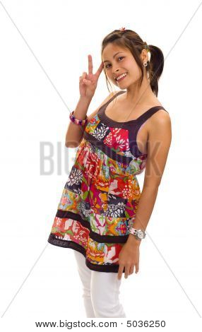 Beautiful Asian Woman Making Victory Sign