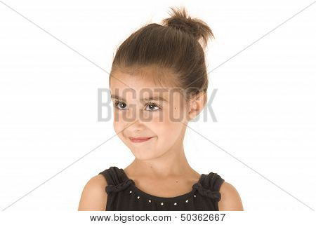 Young Girl In Black Leotard With Sparkly Eyes Head Tilted Smiling