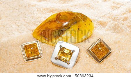 Amber Cabochons Set In Jewllery