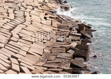 Concrete Blocks Forming Protective Coastal Seawall