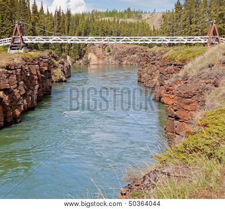 Swing Bridge Across Miles Canyon Of Yukon River