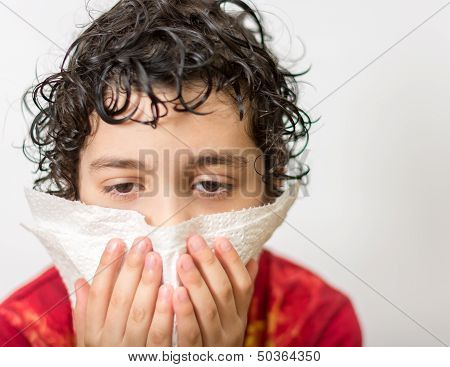 Young Boy Suffering a Cold
