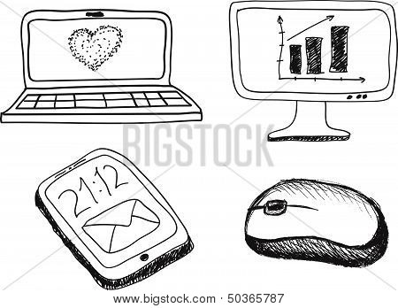 hand drawn phone monitor notebook and mouse on a white background