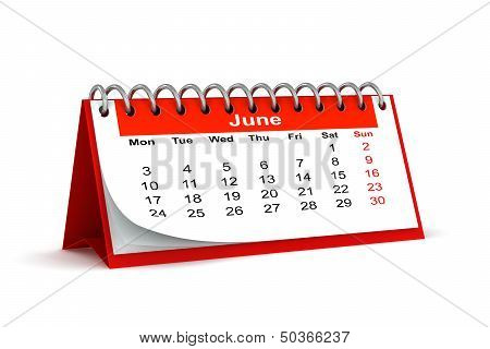 3D Red Desk Paper 2013 Year Calendar - Month Of June