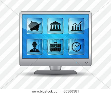 Flat screen monitor with business icons on a striped background
