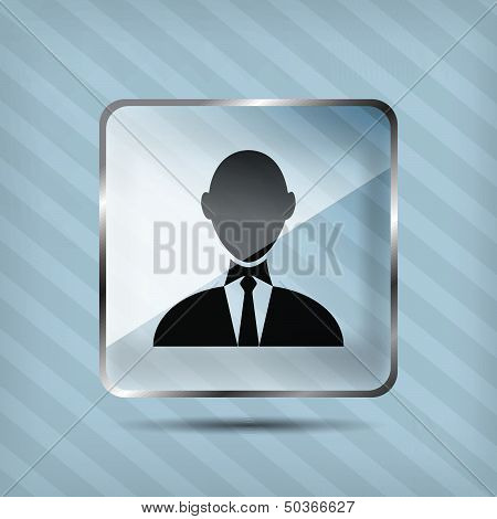 glass businessman icon on the striped background