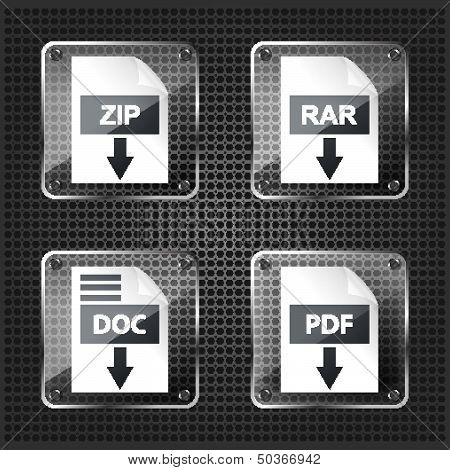 set of transparency rar zip doc and pdf download icons on a mettalic background