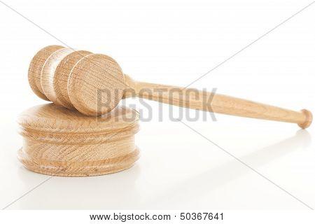 Wooden Gavel On Sounding Block