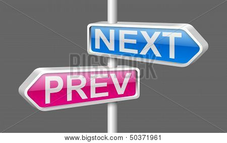 Pink And Blue Glossy 3D Metal Arrow Pinter