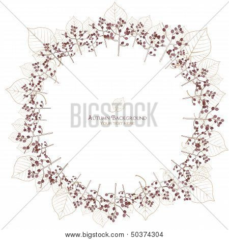 Autumn Tree And Leaf Vein Circle Background