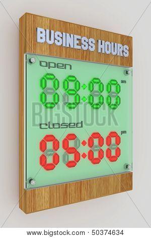 Business Hours - Digital Led Light 12Hr (am-pm)