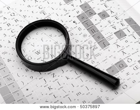 Magnifying Glass And Typography