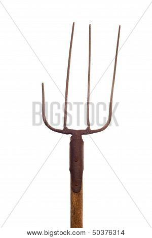 Broken Pitchfork On White Background