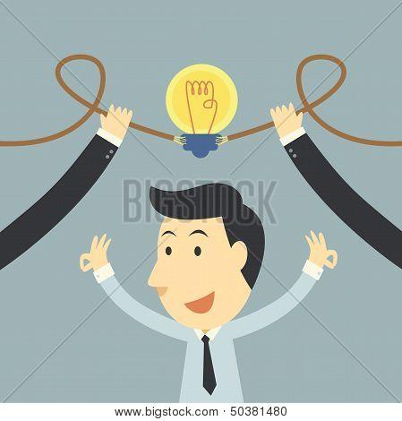 Businessman Spark Idea Up