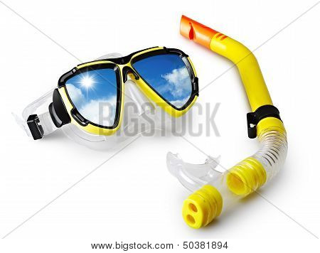Mask And Snorkel For Scuba Diving With Blue Sky In Reflection