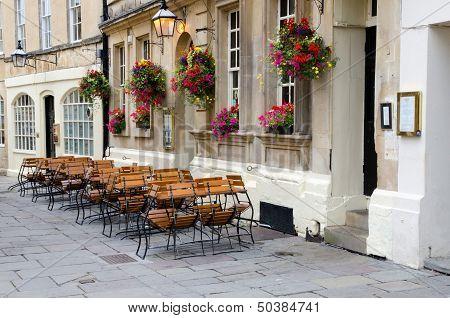 Empty street cafe, Bath, England