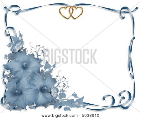 Wedding Invitation Border Blue Hibiscus
