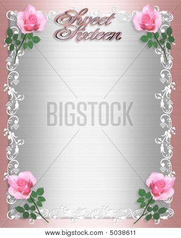 Sweet Sixteen Invitation Pink Satin Shabby Chic
