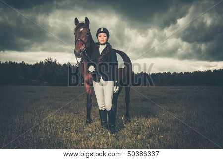 Beautiful girl standing near horse outdoors against moody sky