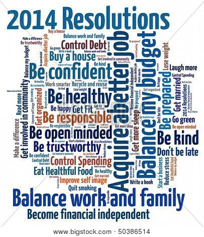 New Year Resolution in Wort-collage
