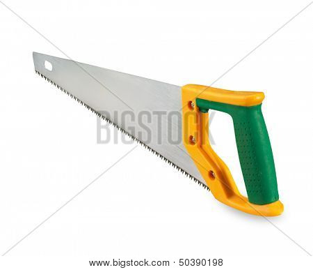 Handsaw over white background