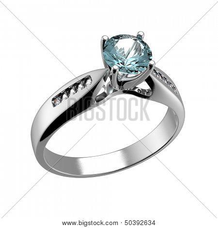 Wedding Ring with diamond isolated on white background