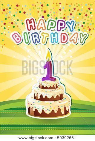 Cake and candle.Vector Illustration of happy birthsday card