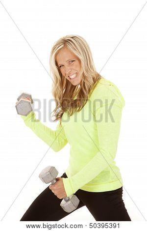 Woman Workout Green Shirt Curls