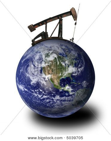 Oil Derrick On The Earth