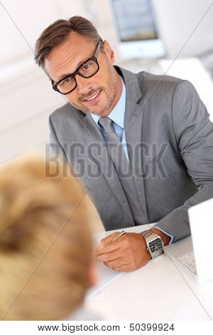 Human ressources manager giving a job interview