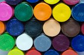 pic of end rainbow  - Colorful crayon ends stacks with in a abstract pattern - JPG