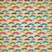 image of aristocrat  - Seamless vector pattern background or texture with colorful curly vintage retro gentleman mustaches - JPG