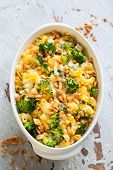 casserole with pasta,cheese,broccoli and nut