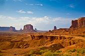 stock photo of butt  - view from john fords point to the giant Merrick buttes sandstone formations in the Monument valley - JPG