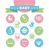 foto of pacifier  - collection of universal baby icons eps10 vector illustration - JPG