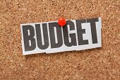 stock photo of economy  - Newspaper clipping of the word Budget pinned to a cork notice board - JPG