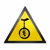 stock photo of unicycle  - Yellow roadsign warning about a presence of unicycles - JPG