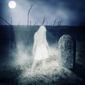 image of cemetery  - White woman ghost stay on her grave on old cemetery - JPG