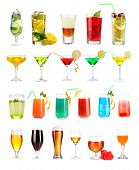 Lot of different cocktails and drinks isolated on white