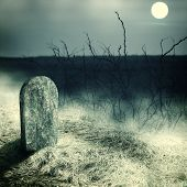 stock photo of cemetery  - gravestone on old cemetery - JPG