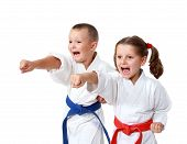 stock photo of karate kid  - Small children in kimono beat a punch hand on a white background - JPG