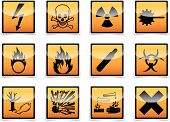 stock photo of bio-hazard  - Isolated Danger hazard sign icon collection with shadow on white background - JPG